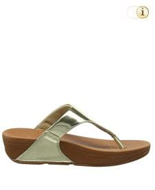 FitFlop Zehensteg-Sandale Lulu. Farbe: spiegelnd Goldfarben.