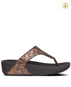 FitFlop Zehensteg-Sandale Lulu Glitter. Farbe: glitzy bronze.