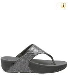 FitFlop Zehensteg-Sandale Lulu. Farbe: schimmernd silber.