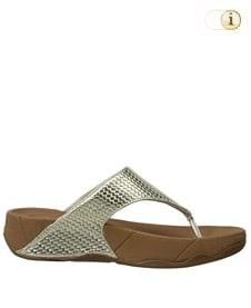 FitFlop Zehensteg-Sandale Lulu mit Gewebeoptik. Farbe: glänzendes Blassgold.