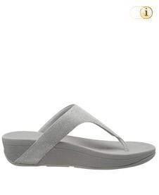 FitFlop Zehensteg-Sandale Lulu. Farbe: schimmernd silbergrau.