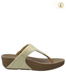 FitFlop Zehensteg-Sandale Lulu. Farbe: Beige Shimmer Denim.