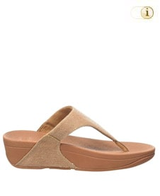 FitFlop Zehensteg-Sandale Lulu. Farbe: hellbraun schimmernd.