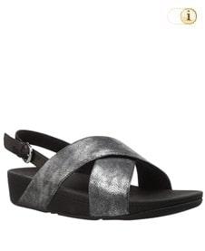 FitFlop Sandalette Lulu mit Fersenriemen. Farbe: schimmernd silber.