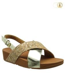 FitFlop Sandalette Lulu in glänzender, gespiegelter Metallic-Optik mit Fersenriemen und Ornamenten auf dem Spann. Farbe: gold.