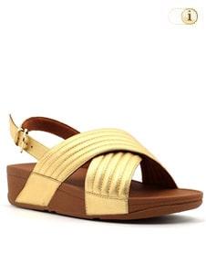 FitFlop Sandalette Lulu padded mit Fersenriemen. Farbe: gelbgold.