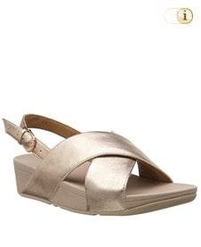 FitFlop Sandalette Lulu mit Fersenriemen. Farbe: blassgold.
