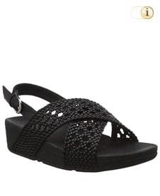 FitFlop Sandalette Lulu im geflochtenen Gewebe-Design mit Fersenriemen. Farbe: schwarz.