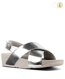 FitFlop Sandalette Lulu mit Fersenriemen. Farbe: glänzend silber.