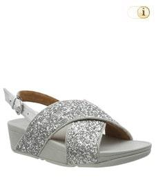 FitFlop Sandalette Lulu Glitter mit Fersenriemen. Farbe: glitzy silber.