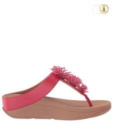 FitFlop Zehensteg-Sandale Lulu mit Perlenbüschel. Farbe: rot.