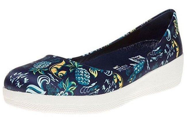 Blaue FitFlop ANNA SUI Printed BALLERINA Schuhe mit Print.