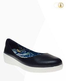 FitFlop Anna Sui Leder Ballerina Schuhe, Blau.