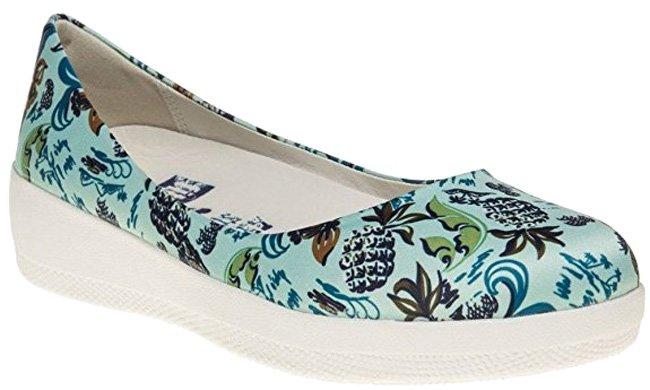 "Fitflop ""Anna Sui"" Ballerinaschuhe mit bunten floralen Mustern. Innenmaterial: Leder."