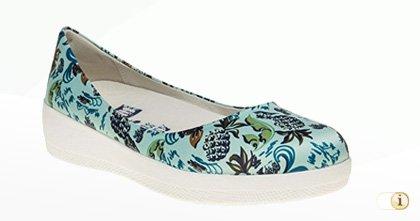 """FFitflop """"Anna Sui"""" Ballerinaschuhe mit bunten floralen Mustern."""