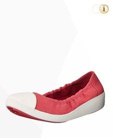 FitFlop F-Pop Canvas Ballerina Schuhe, rot.