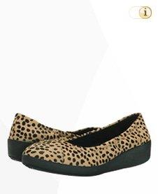 FitFlop F-Pop Leder Ballerina Schuhe, Leopardprint.