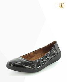 FitFlop F-Pop Patent Ballerina Schuhe, schwarz.