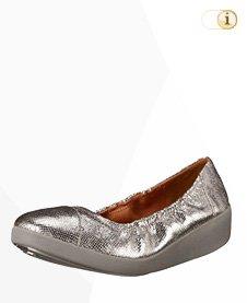 FitFlop F-Pop Ballerina Schuhe, zinn.