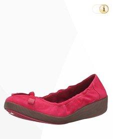 FitFlop F-Pop Wildleder Ballerina Schuhe, rot.