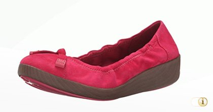 "Fitflop ""F-Pop"" Wildleder Ballerinaschuhe in Himbeerrot."