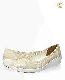 FitFlop F-Pop Opul Ballerina Schuhe, hellgelb.