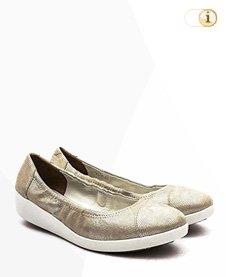 FitFlop F-Pop Opul Ballerina Schuhe, goldgelb.