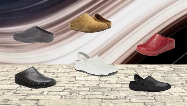 FitFlop Schuhe für Damen, Clogschuhe, schwarz, rot, weiß.