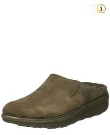 Grüner FitFlop Schuh für Damen. Wildleder Clogs, grün.