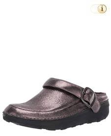 Glänzender FitFlop Schuh für Damen. Superleichte Glitzy Clogs, pewter.