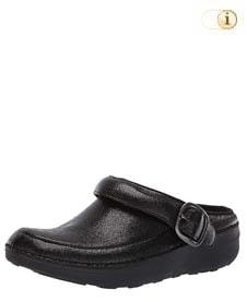 Schwarzer FitFlop Schuh für Damen. Superleichte Glitzy Clogs, schwarz.