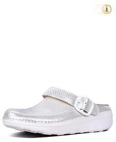 Glänzender FitFlop Schuh für Damen. Superleichte Clogs mit Oberflächenstruktur, weiß.