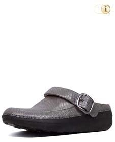 Glänzender FitFlop Schuh für Damen. Superleichte Clogs mit Oberflächenstruktur, zinn.