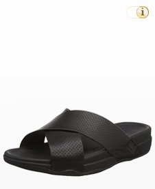 FitFlop Herren Slide Perf Leather Sandalen, schwarz.