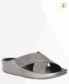 FitFlop Crystall Pantoletten, silbern.