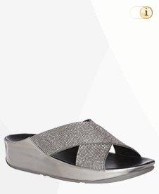 Silberne Fitflop Damen Sandalen. Sandale Crystall Pantoletten, silber.