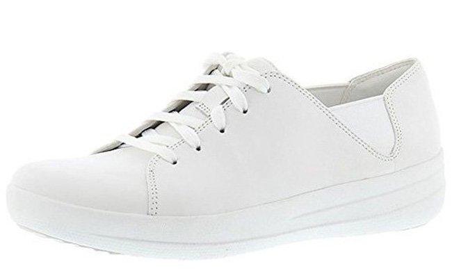 Weiße Fitflop Schuhe für Damen, F-Sporty Schnürsneaker Lederschuh.