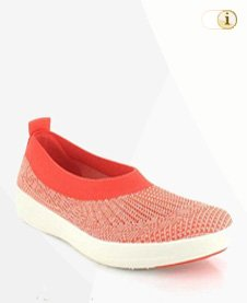 Fitflop Uberknit™ Slip-On Ballerinas in Korallenrot.