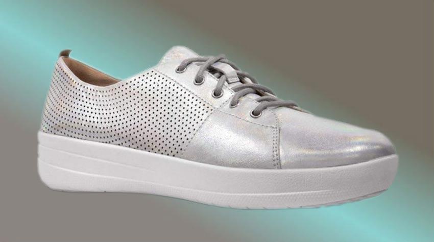 Silberne FitFlop Schuhe für Damen, Sneaker, silber.