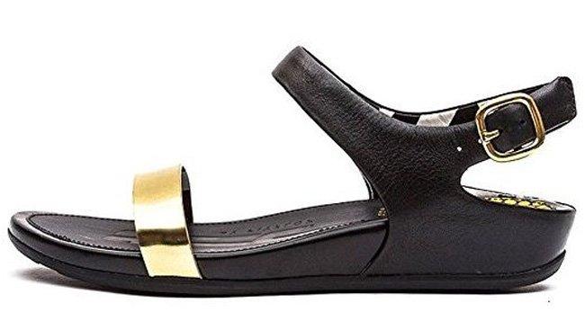 Schwarze FitFlop Schuhe, Damen-Sandale, schwarz, gold.