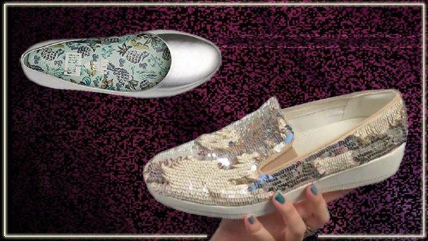 Silberne FitFlop Schuhe für Damen, Ballerinaschuh mit Pailetten, silber.