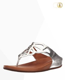 "FitFlop ""BUMBLE"" Toe-post Sandale, silber."