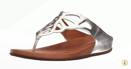 "FitFlop ""BUMBLE"" Zehenstegsandale in Silber."