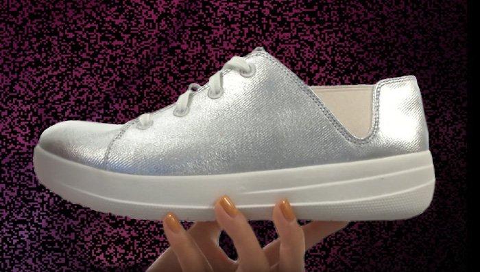 Silberne FitFlop Schuhe für Damen, ATHLEISURE-SCHUHE, silber.
