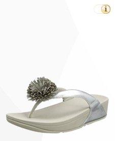 FitFlop Damen Flowerball Toe-Post Sandale, silber.