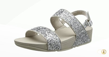 "FitFlop ""Glitterball"" Sandale in Silber."