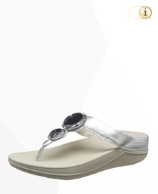 FitFlop Luna Pop T-Spangen Sandale, silber.