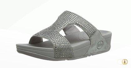 """FitFlop """"Rokkit"""" Slide Sandale in Silber."""