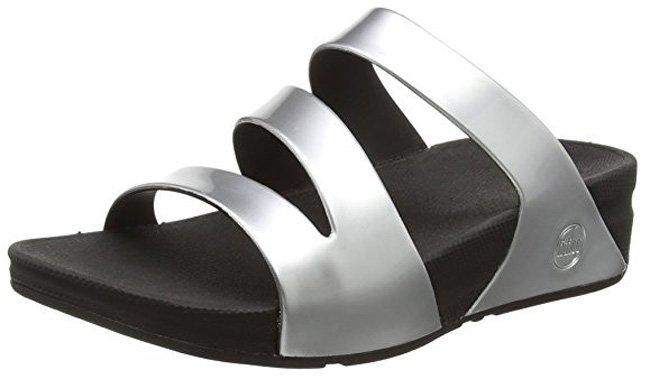 """FitFlop """"Superjelly Twist"""" Slide Sandale in Silber."""