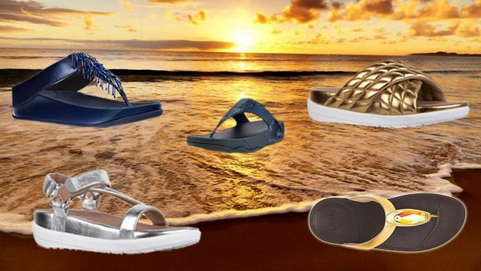 FitFlop Schuhe Damen, Sandalen, schwarz, blau, gold.